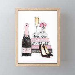 Champagne, pink, books, shoes, peonies, Peony, Fashion illustration, Fashion, Amanda Greenwood Framed Mini Art Print