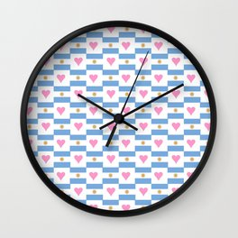 Flag of argentina 3 -Argentine,Argentinian,Argentino,Buenos Aires,cordoba,Tago, Borges. Wall Clock