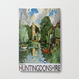 Huntingdonshire Vintage Travel Poster Metal Print