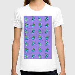 Cactus on Violet Background T-shirt