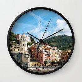 Cinque Terre, Vernazza Village   Mediterranean Coast, Italy   Pastel colorful travel photography in Europe   Art Print Wall Clock