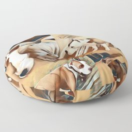 Pit Bull Collage Floor Pillow