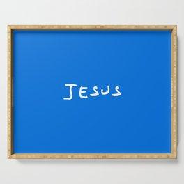 Jesus 2 blue Serving Tray