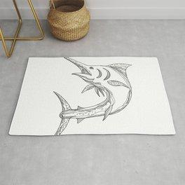 Atlantic Blue Marlin Doodle Rug