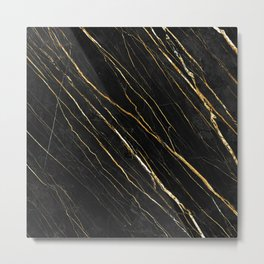 Cracked Gold Marble Metal Print