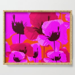Pink And Red Poppies On A Orange Background - Summer Juicy Color Palette Retro Mood #decor #society6 Serving Tray