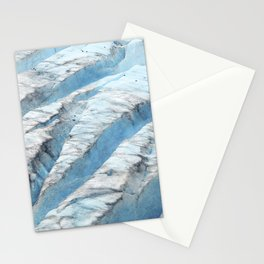 Don't Fall! Alaskan Glacier's Dangerous Blue Ice Crevasses Stationery Cards
