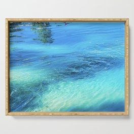 Lake Reflections: Whirlpool in Aqua and Cerulean Blue Serving Tray