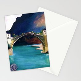 Mostar Old Town Panorama, Stari Most Bridge, Bosnia and Herzegovina by Tivadar Csontváry Kosztka Stationery Cards