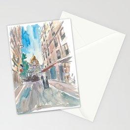Paris France Montmartre Sacre Coeur Street Scene Stationery Cards