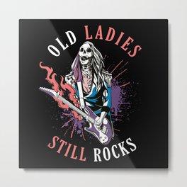 Old Ladies Still Rocks Electric Guitar Skeleton Metal Print