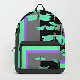 FLIGHT OF GREEN DRAGONFLIES VIOLET-GREY ART Backpack