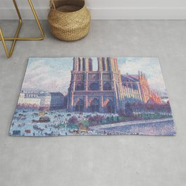 Notre Dame Cathedral, Paris, France Masterpiece by Maximilian Luce Rug