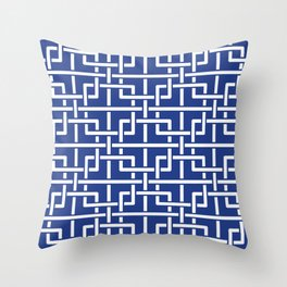 Tangled squares Chinoiserie in blue & white Throw Pillow