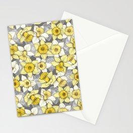 Daffodil Daze - yellow & grey daffodil illustration pattern Stationery Cards
