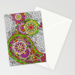 Retro 1960's Hippie Paisley Pattern in Fabulous Red Stationery Cards