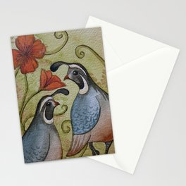 The quail and the poppy watercolor Stationery Cards