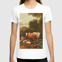 ABRAHAM JANSZ. BEGEYN - An Italianate Landscape with a Herdsman and his Cattle Resting near a Tree T-shirt