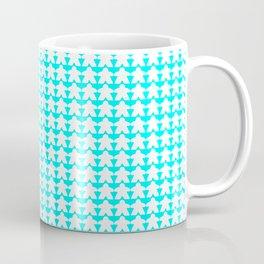 White Meeples on Teal Coffee Mug