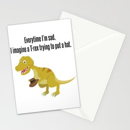 Sad T-Rex Hat Funny Dino Fan Gift Stationery Cards