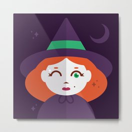 A Young Witch with Just a Wink of Magic Metal Print