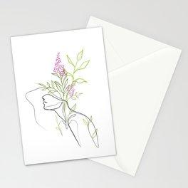 Colorful Botanical Flowerhead Portrait, Boho Line Art Stationery Cards