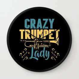 Crazy Trumpet Lady Musician Musical Instrument Wall Clock