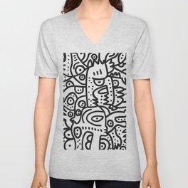 Black and White Graffiti Street art Ink Marker  Unisex V-Neck