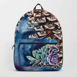 Pine cone and succulents, blue and green flowers, watercolor painting Backpack