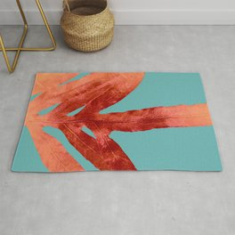 Red Fern on Teal Rug