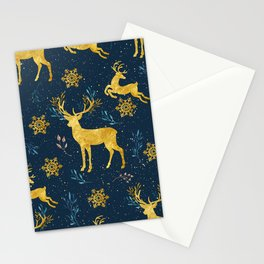 Golden Reindeer Stationery Cards