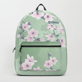 Pink Cherry Blossom Green Background Backpack