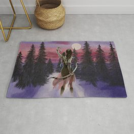 Hunting beauty, Watercolor hand drawn scene,Beautiful woman on Vintage wildlife colorful landscape Rug