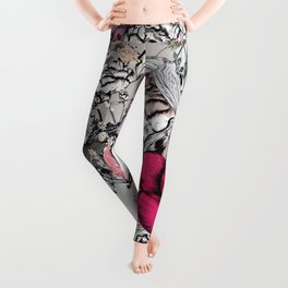Beautiful vector illustration with peony flowers, herbs, plants and bees in vintage style Leggings