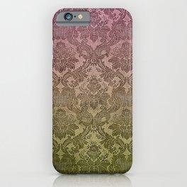 Vintage Pastel Pink and Green Damask Pattern iPhone Case