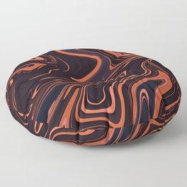Orange Black And Blue Swirl Marble Floor Pillow