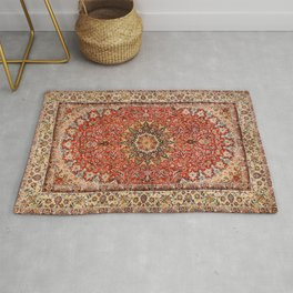 Persia Qum 19th Century Authentic Colorful Red Tan Blush Vintage Patterns Rug