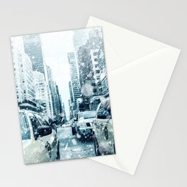 New York City Snowing Blizzard Photo Big Apple Streets Cars Stationery Cards