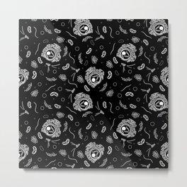 Organelles - White on Black Metal Print