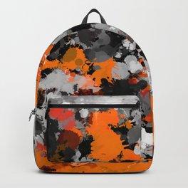 Orange and Grey Paint Splatter Backpack