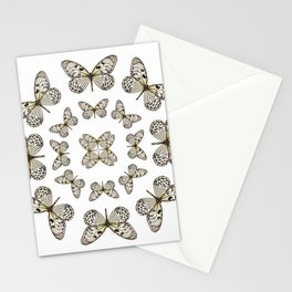 Rice Paper Butterfly Circle Stationery Cards
