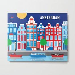 Amsterdam, Netherlands - Skyline Illustration by Loose Petals Metal Print