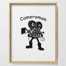 Filmmakers and Film Fans Cameraman Design Serving Tray