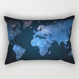 World Map Stars Rectangular Pillow