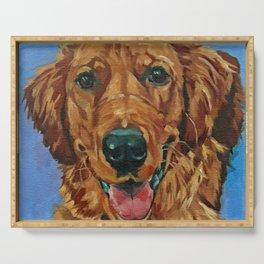 Coper the Golden Retriever Dog Portrait Serving Tray