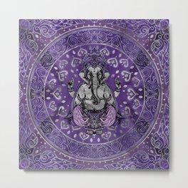 Ganesha - silver and purples Metal Print