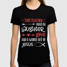 Christian Teacher Run Laughter Love Jesus Quote Fish Graphic T-shirt