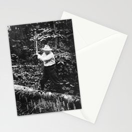 Teddy Roosevelt Chopping Wood - Sagamore Hill - 1911 Stationery Cards