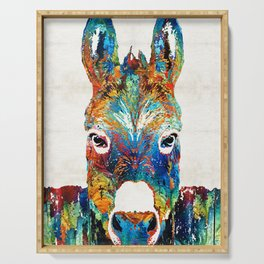 Colorful Donkey Art - Mr. Personality - By Sharon Cummings Serving Tray