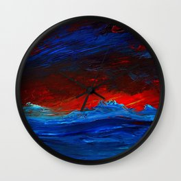 Crimson Sky Seascape Wall Clock